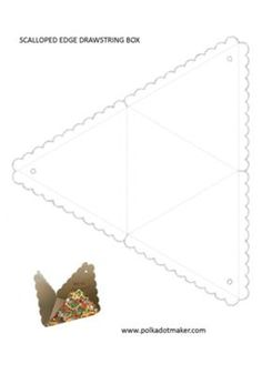 Drawstring Box Template: The scalloped edge draw string box is one of the easiest gift or favor packing boxes available. No glue, no tape, just cut, fold on dotted lines, make