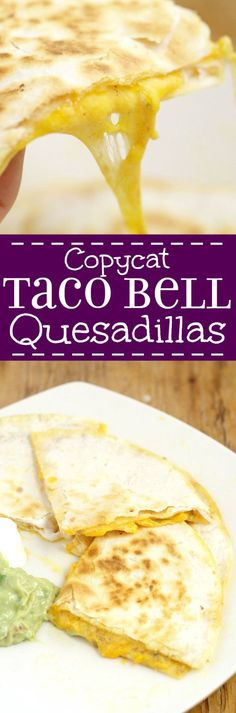 Cheese Quesadillas with Copycat Taco Bell Quesadilla Sauce tastes JUST like the original. From a former Taco Bell worker and current Taco Bell Quesadilla addict. Makes a quick and easy appetizer or di (Cheese Quesadilla) Taco Bells, Taco Bell Recipes, Mexican Food Recipes, Pasta Recipes, Taco Bell Quesadilla Sauce, Taco Bell Ranchero Sauce Recipe, Taco Bell Spicy Ranch Sauce Recipe, Taco Bell Jalapeno Sauce, Easy Chicken Quesadilla Recipe