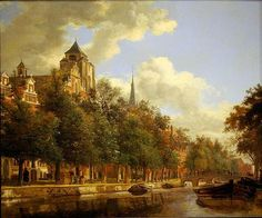 Jan van der Heyden - George M. and Linda H. Kaufman Collection (at the National Gallery of Art). An Amsterdam Canal View (c. 1670)