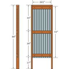 Each wing wall has a 6-foot-long corrugated metal roof panel that's screwed to a frame made of 2-by-4 lumber.