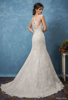 amelia sposa 2017 bridal cap sleeves illusion v neck sweetheart neckline full embellishment elegant trumpet mermaid wedding dress lace back chapel train (ceclia) bv