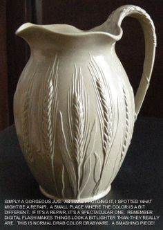 Club Jug, Glazed Drabware, Drab Stoneware With Embossed Wheat Earthenware, Stoneware, Mugs And Jugs, White Dinnerware, White Dishes, Glazes For Pottery, Serving Dishes, Clay Crafts, Teapots