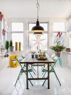 DrotARCH | Photographer Carina Olander and interior designer Anna Truelsen  used bright yellow and fresh seafoam colors  to amplify the atmosphere of a playful and creative home.