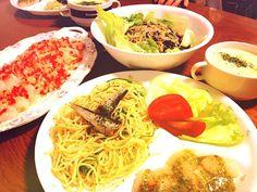 母親の退院祝い(*^^*) - 6件のもぐもぐ - ペペロンチーノ、ホタテのカルパッチョ、春雨サラダ、コーンスープ… by nnatsumi