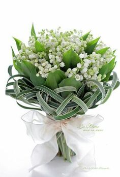 Just Love This Uniquely Arranged Bouquet Of One Of The Most Beloved Wedding Florals, Lily Of The Valley + Greenery & Woven Foliage>>>>