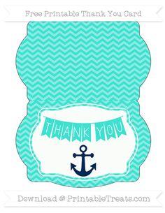 Free Turquoise Chevron Nautical Thank You Card