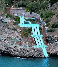 Città del Mare Hotel Village in Sicily, Italy...  The last water slide goes right into the Mediterranean Sea!  SO FUN!