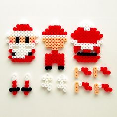Christmas ornament (Santa parts) perler beads by Asami Nagasaki