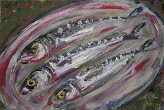 Drei Makrelen. Acryl auf Leinwand. effage 2003