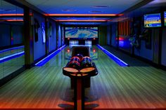 Family Lounge - traditional - bowling - Boston - Schranghamer Design Group, A regulation size bowling alley with two lanes requires about 87 feet of length and is wide. These dimensions do not include a seating area in front of the lanes. Disco Bar, Home Bowling Alley, Game Room Basement, Basement Ideas, Playroom, Garage Ideas, Media Room Design, Boston, Million Dollar Homes