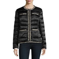 Karl Lagerfeld Paris Women's Zip-Front Puffer Coat ($80) ❤ liked on Polyvore featuring outerwear, coats, black, karl lagerfeld, fur-lined coats, feather coat, puffy coat and puffer coat