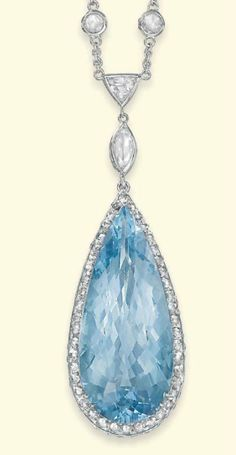 AN AQUAMARINE AND DIAMOND PENDENT NECKLACE   The drop-shaped aquamarine mounted within a rose-cut diamond surround to the similarly-set gallery, suspended from a spectacle-set marquise and triangular-cut diamond line to the rose-cut diamond neckchain