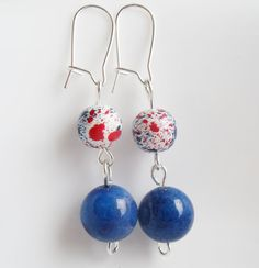 Red White and Blue Bead Earrings Patriotic by TheRaspberryBasket