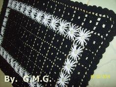 Tapete multiuso em crochê com bordado