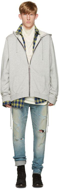 FAITH CONNEXION Grey French Terry Hoodie. #faithconnexion #cloth #hoodie