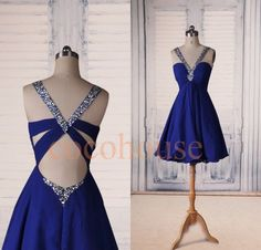 Sexy Dark Royal Blue Beaded Prom Dresses Short by cocohouse