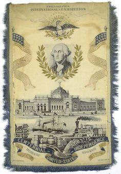 Silk Stevengraph Broadside from Philadelphia International Exhibition.  Souvenir Memento Centennial United States Independence 1776-1876.