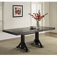Countryside Chic Antique Black Wood Dining Table - x 40 x Black Extendable Dining Table, Chic Antique, Antique Wood, Solid Wood Dining Set, Dining Table In Kitchen, Dining Tables, Dining Rooms, Trestle Tables, Dining Area