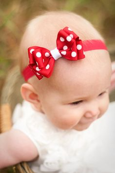 Baby Headband, Double Layer Kinley Polka Dot Boutique Baby Headband Bow  ANY color YOU choose, Baby Bow, Infant Headband, Polka Dot Headband