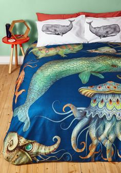 Creatures of the Whim-sea Duvet Cover in Full/Queen, #ModCloth