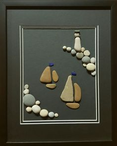 "Boats on a moonlit bay. 11 "" x pebble art by Sarah Hillman. All pebbles and glass collected on the shores of Lake Michigan. Stone Crafts, Rock Crafts, Diy And Crafts, Arts And Crafts, Pebble Painting, Pebble Art, Stone Painting, Pebble Pictures, Stone Pictures"