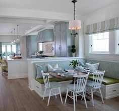 If you want to decorate your house, the banquette seating is a good choice. The banquette seating is a type of comfortable, upholstered benches and can provide a cozy, intimate mood for people to stay together in the tight area. Beach House Tour, Beach House Decor, Home Decor, Beach Houses, Beach House Interiors, Beach Room Decor, Decor Room, Beach Cottages, House Of Turquoise