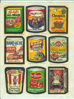 Wacky Packages!  These were sold in packs with gum like baseball cards.
