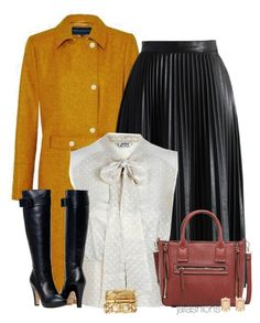 """Leather Midi + Tall Boots"" by jafashions ❤ liked on Polyvore"