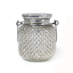 Antique Silver diamond Jar/ Candle Lantern, 28k