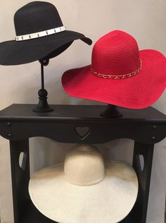 Straw Floppy hats in Black, Red & Beige