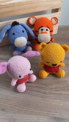 Winnie the Pooh and his friends Tigger Piglet Eeyore . Disney cartoon characters and Winnie the Pooh characters. Crochet Animal Patterns, Stuffed Animal Patterns, Crochet Patterns Amigurumi, Crochet Dolls, Crochet Baby, Knitting Patterns, Disney Cartoon Characters, Disney Cartoons, Pooh Baby