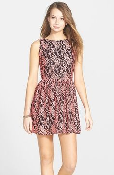 Free shipping and returns on Basil Lola Open Back Lace Skater Dress (Juniors) at Nordstrom.com