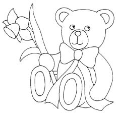 Coloring Pages of Cute Teddy Bear With A Flower