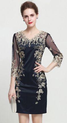 Elegant Embroidery V-Neck Long Sleeve Mesh Bodycon Dress