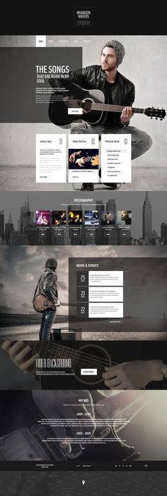 This music composer web template pulls visitors in with an impressive full-screen header image . Further down the main page, it shows off musician's discography, informs fans of the upcoming events...