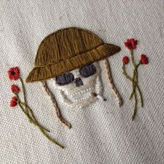 """Hand Embroidery Tinycup Needleworks  Words by Kara       Britt """"Hutch"""" Hutchinson of Tinycup Needleworks attended our Parts &     Labor Day ride last summer and grew up riding on the back of her     father's bike. As she says it, """"the moto community has a dear place in     my h"""