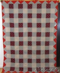 Classic 1900s Checkerboard Antique QUILT Top Cranberry Weaves DOGTOOTH
