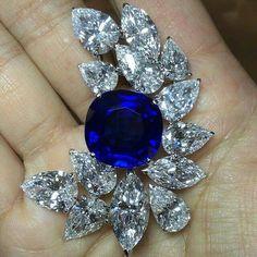 Gasp! repost from @frankbeverett 30 carat Kashmir sapphire brooch #cartier