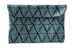 Image of Clutch- Black Leather with Blue Pyramids - Made To Order