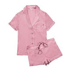 Journelle Bardot Short PJ Set ($148) ❤ liked on Polyvore featuring intimates, sleepwear, pajamas, dusk, silk short pajamas, silk pajama set, short pajamas, silk pajamas and lingerie pajamas