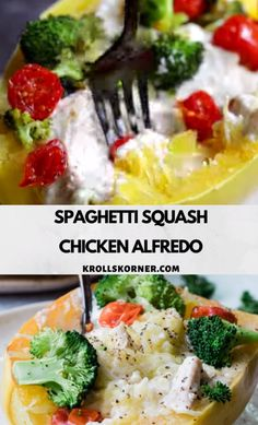 Spaghetti Squash Chicken Alfredo is a great low carb alternative to a traditional Alfredo meal! A easy and nutritious weeknight meal the entire family will love. Homemade Chicken Alfredo Sauce, Homemade Alfredo, Low Carb Dinner Recipes, Easy Healthy Recipes, Healthy Weeknight Dinners, Easy Meals, Spaghetti Squash Chicken Alfredo, Carb Alternatives, Traditional