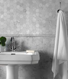 Carrara Polished Marble Moldura 305 x Carrara Marble Bathroom, Hexagon Mosaic Tile, Dado Rail, Splashback Tiles, House Tiles, Color Tile, Stone Tiles, Sink, Indoor