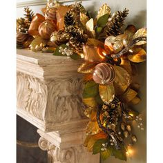 "images bronze christmas   Pre-lit ""Bronze"" Christmas Garland - Neiman Marcus - Polyvore"