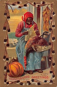Thanksgiving Greetings Black Americana Plucking Turkey Antique Postcard K63067  Mary L. Martin LTD Postcards recognized as one of the worlds leading postcard dealers  In business over 40 years  Retail Store located in Havre de Grace, MD