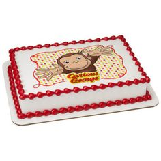 """Curious George Cake Topper. Printed on a 8 x 10"""" Frosting Sheet."""