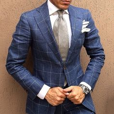 Love the blue check suit pattern and the grey tie Mens Tailored Suits, Mens Suits, Sharp Dressed Man, Well Dressed Men, Classic Men, Suit Pattern, Suit And Tie, Gentleman Style, Wedding Suits