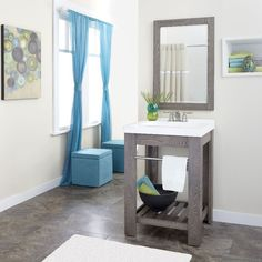 Shop allen + roth Strabury 24-in x 21.5-in Specialty Driftwood Integral Single Sink Bathroom Vanity with Cultured Marble Top at Lowes.com