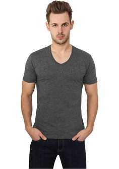 Urban Classics Melange V-Neck Pocket Tee Black - Urbanclassics-shop.nl