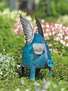 Flying Pig (Everyone needs a blue pig in their garden!)