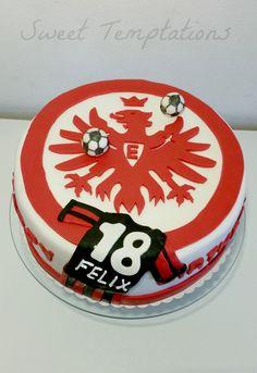 Soccer Eintracht Frankfurt Cake - German soccer cake for a big Eintracht Frankfurt fan!! Cake is filled with vanillasponge and creamcheese with tangerines.
